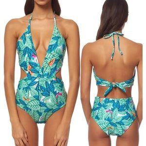 Mara Hoffman Leaf-Print Reversible One-Piece Suit